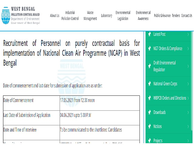 WBPCB Recruitment 2021 for Senior Project Associate & PA Posts, Download Application Form @wbpcb.gov.in