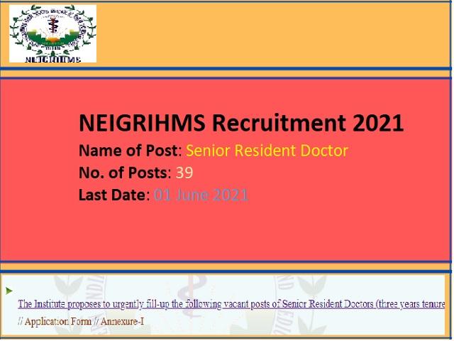 Apply 39 Sr. Resident Doctor Posts before 01 June