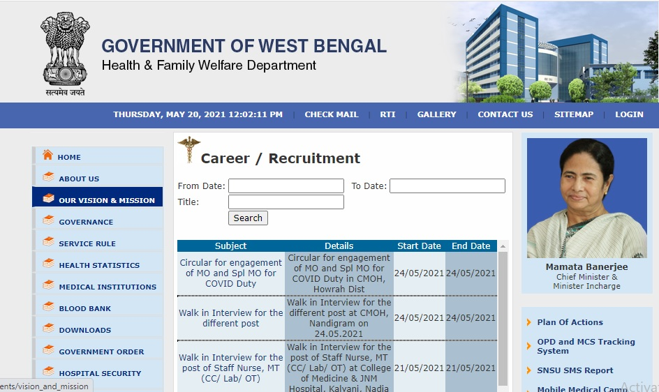 WB Health Recruitment 2021 for 32 Staff Nurse& MT Posts @wbhealth.gov.in, Walk-in on 21 May