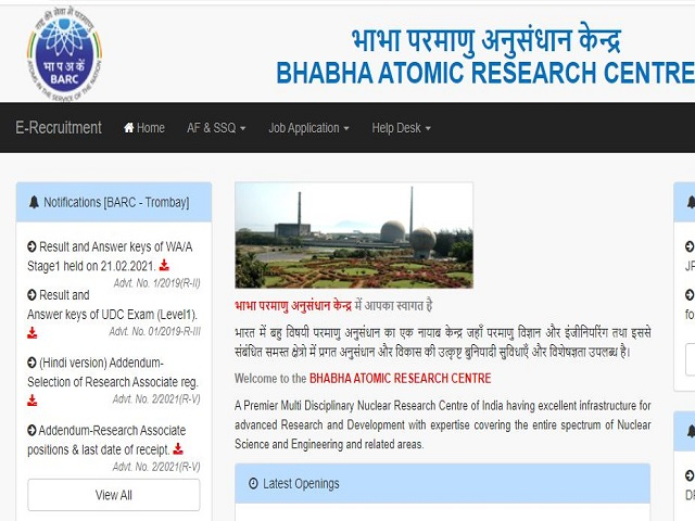 Download Answer Key, Cut-Off for Prelims Exam @recruit.barc.gov.in