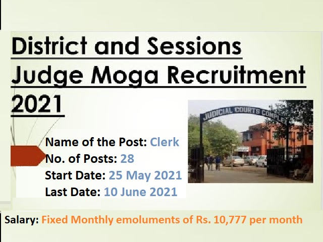 District & Sessions Judge, Moga Recruitment 2021 for 28 Clerk Posts before 10 June