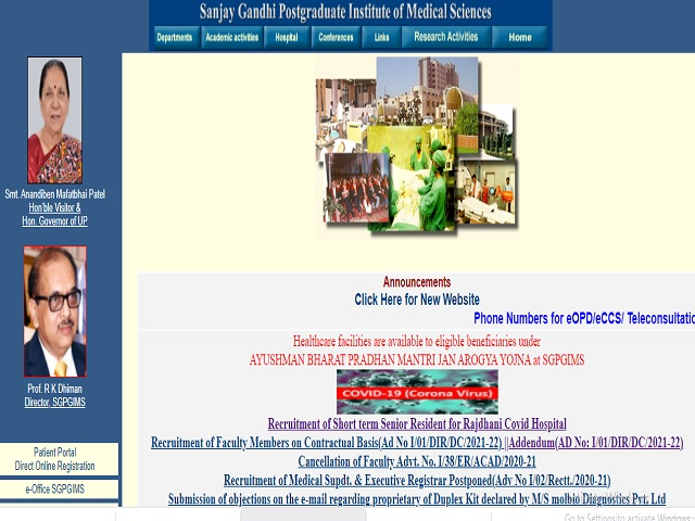 SGPGIMS Recruitment 2021, Walk in for Research Associate, Laboratory Technician and Other Posts