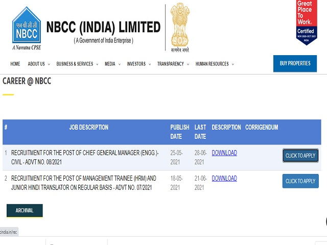 Apply Online for Chief General Manager Posts @nbccindia.in