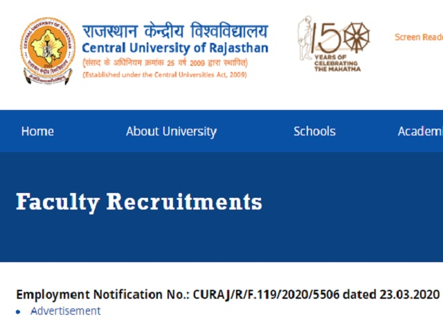 Apply for Various Faculty Posts@curaj.ac.in