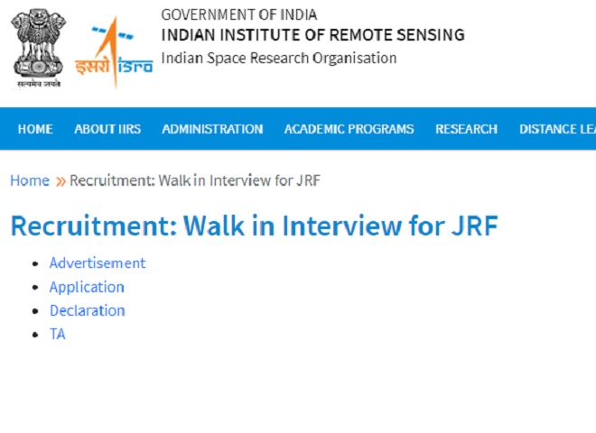 Apply Online for Various JRF Posts @recruitment.iirs.gov.in,Check Eligibility