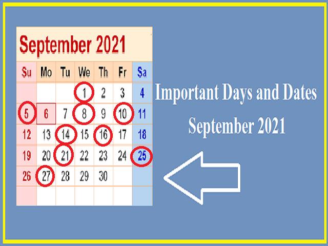 Important Days in September 2021