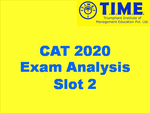 CAT 2020 Exam Analysis by TIME Slot 2 Section-Wise Analysis, CutOff