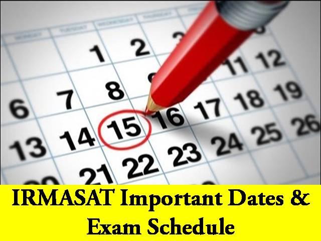 IRMA 2021 Important Dates