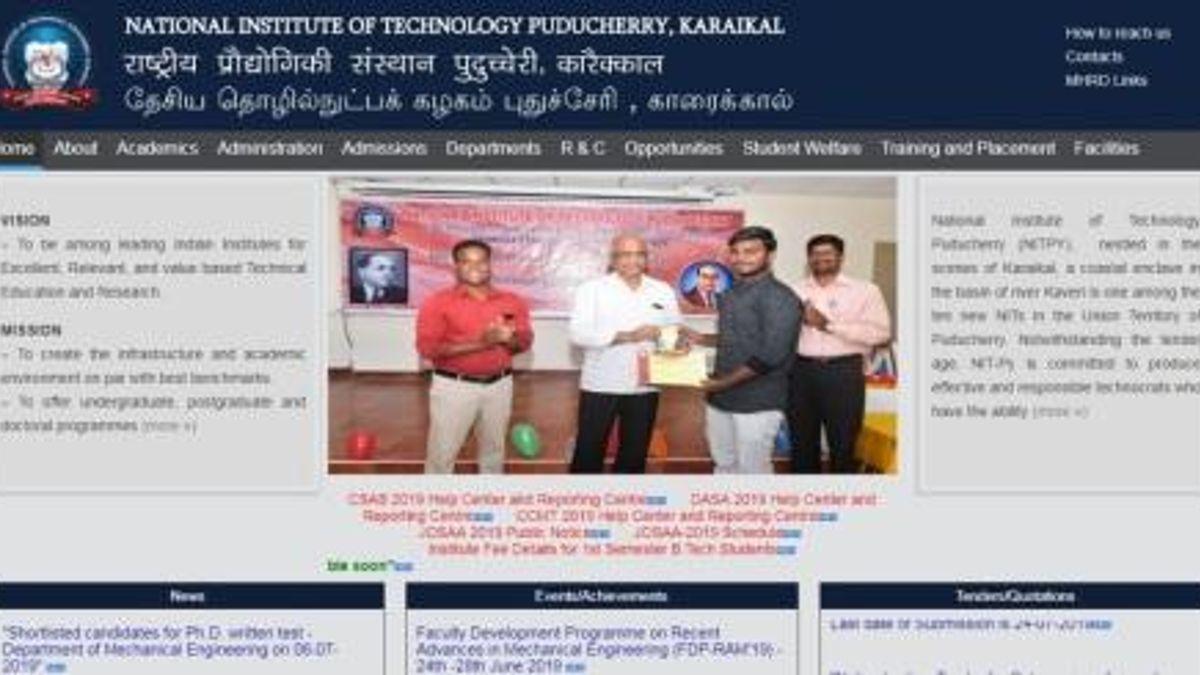 NIT, Karaikal Recruitment 2019