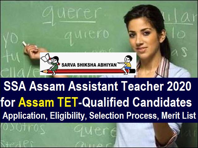 SSA Assam Teacher Recruitment 2020