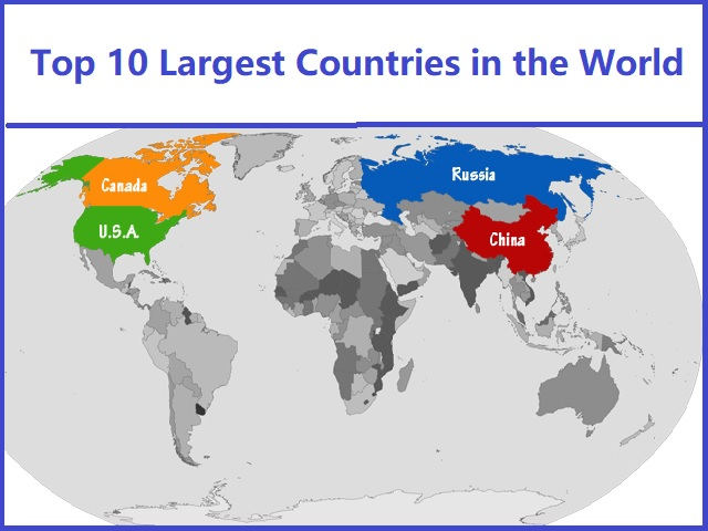 Top 10 Largest Countries by Area in Hindi