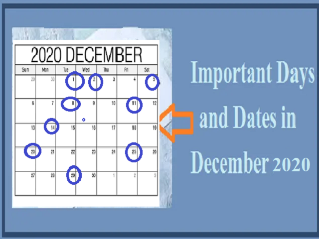 Important Days and Dates in December