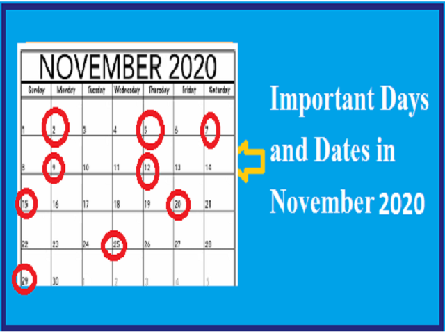 Important Days and Dates in November 2020