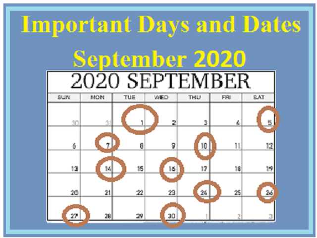 Important Days in September 2020