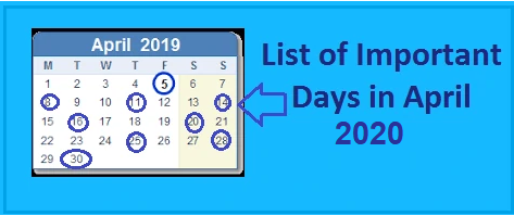 Important Days in April 2020