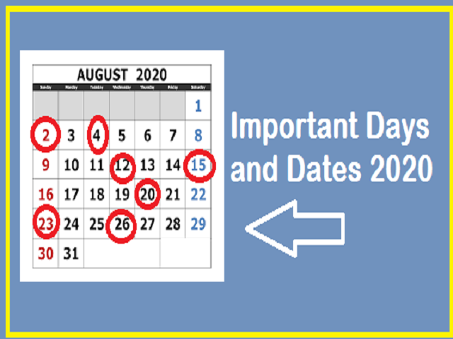 August Important days 2020