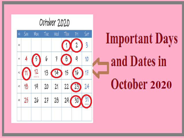 Important days in October 2020