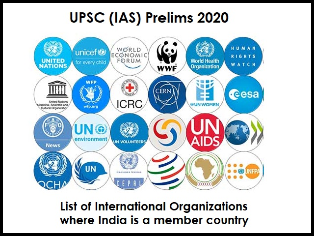 list of all the International Organizations India is a member
