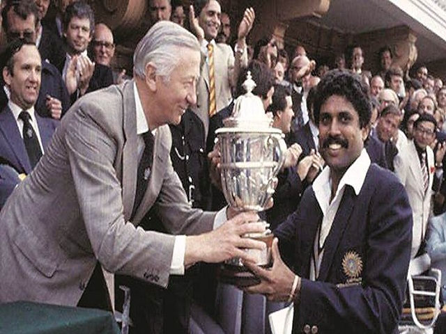 Kapil Dev with World Cup Trophy 1983