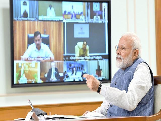 PM Modi Interacting through Video Conferencing