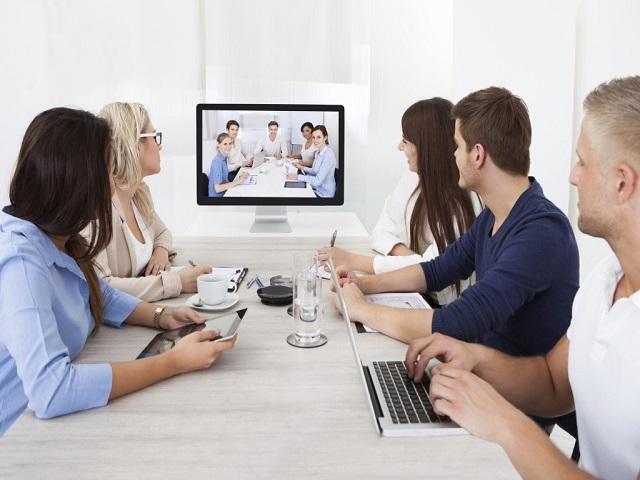 Employees attending meeting via Zoom App